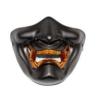 白いハーフフェイス仮面わらいはんにゃハロウィーンホラーマスク